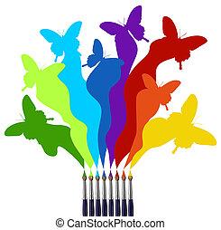 farbe, regenbogen, vlinders, gefärbt, bürsten