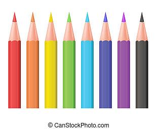 farbe, vektor, pencils., illustration.