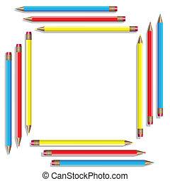 farbe, vektor, pencils., sechzehn
