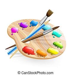 farben, bürsten, wirh, kunst, palette, bleistift