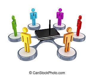Farbige 3d kleine Leute um den Router herum.