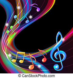Farbige abstrakte Notizen, Musik Hintergrund.