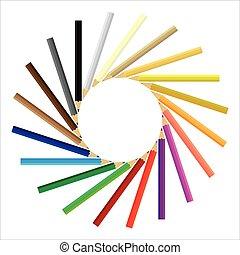 Farbige Bleistifte, die sich im Kreis versammelt haben