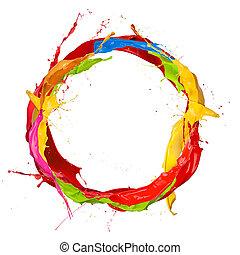 Farbige Farbe spritzt den Kreis, isoliert auf weißem Hintergrund