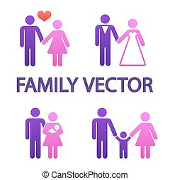 Farbige, glückliche Familien Ikonen
