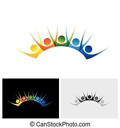 Farbige, glückliche und begeisterte Gruppe von Menschen genießen und Spaß haben