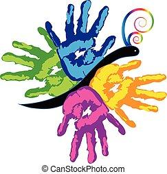 Farbige Hände zusammen Vektorsymbol.