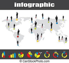 Farbige Infografische und Geschäftsmann Silhouette-Sammlung
