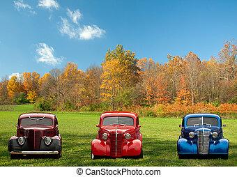 Farbige klassische Autos