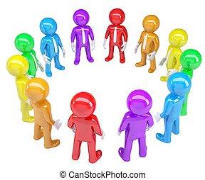 Farbige Leute standen im Kreis