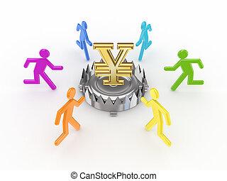 Farbige Leute um Eisenfalle mit Yen Symbol.