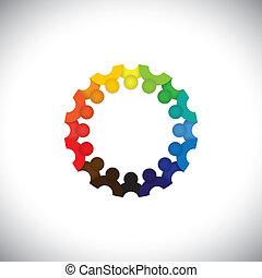 Farbige Menschen Gemeinschaft oder Schulkinder zusammen im Kreis - Vektor. Diese grafische Abbildung kann auch Mitarbeitertreffen, Kinderspiele, Kindergärtnerinnen und Schüler usw. darstellen