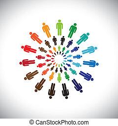 Farbige multiethnische Teams oder Gemeinschaften treffen sich als Kreise. Diese Vektorgrafik kann das Konzept von Teams repräsentieren, die miteinander interagieren und miteinander & zusammenarbeiten, auch globale Sozialgemeinschaften