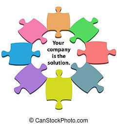 Farbige Puzzleteile in der Mitte der Lösung des Kopierraums