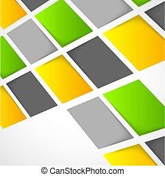 Farbige Quadrate im Hintergrund.