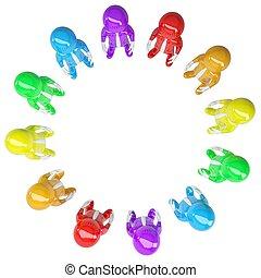 Farbige standen im Kreis