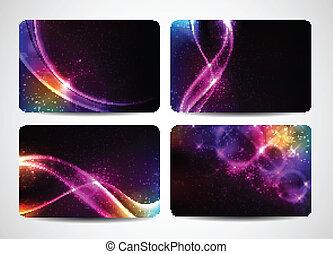 Farbige Visitenkarten mit magischem Licht und hellen Farben