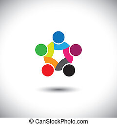 Farbiger abstrakter Konzeptvektor der Einheit der Menschen, Solidarität