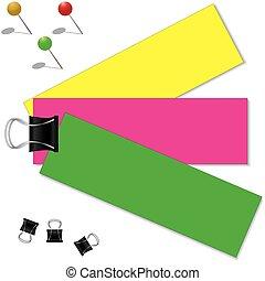 Farbiges Papier mit Clip.