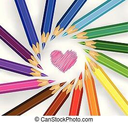 Farbstifte in einem Kreis mit Herz.
