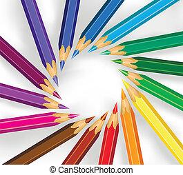 Farbstifte in einem Kreis.