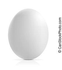 Fast ein Ei auf weißem Hintergrund