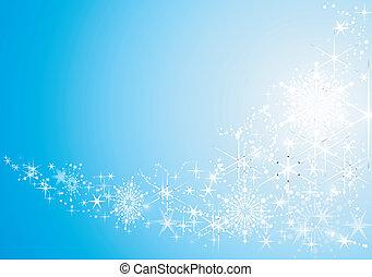 Feierlicher Hintergrund mit glänzenden Sternen und Schneeflocken abbrechen.