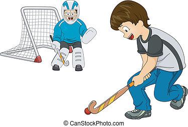 feld, innen, hockey, knaben