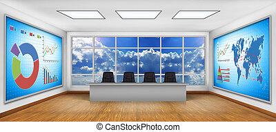 Fernsehbildschirm mit Geschäftsgrafik