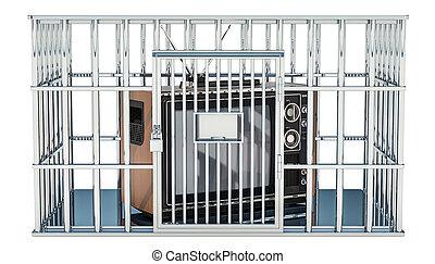 Fernseher im Käfig, Gefängniszelle. Informationsfreiheit, Verbotskonzept. 3D Rendering
