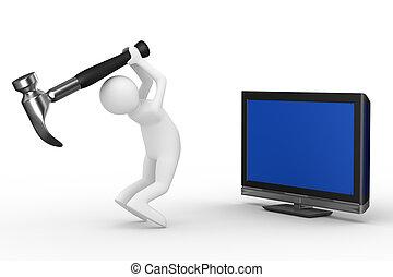 Fernsehtechniker. 3D-Bild isoliert