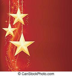 Festrote, goldene Weihnachtsgeschichte mit goldenen Sternen, Schneeflocken und Grungeelementen.