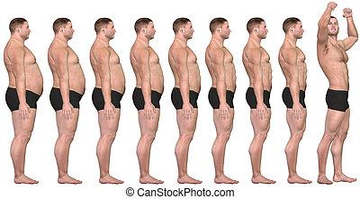 Fett, um vor dem 3D-Mann zu passen