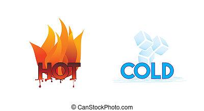 feuer, eis, heiß, kalte , icons;, oder
