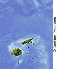 Fidschi, dunkle Landkarte.