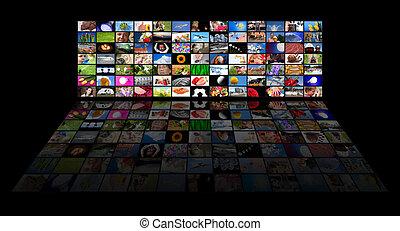 filme, tv?s, ausstellung, tafel