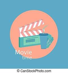 filmsatz, zeit, abbildung, wohnung, vektor, concept., kamera., eps10, stil