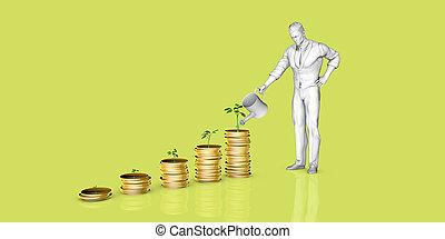 finanziell, baum, bewässerung