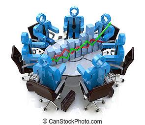 finanziell, geschäftsmenschen, -, tabelle, diagramm, tisch, versammlung, runder , 3d