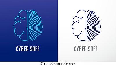Fingerprint-Scan-Logo, Privatsphäre, menschliches Gehirn Icon, Cyber Security , Identity-Informationen und Netzwerk-Schutz. Vector Ikone