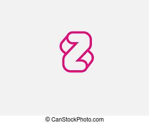 firma, geometrisch, ikone, linear, dein, logo, rosa, z, abstrakt, brief