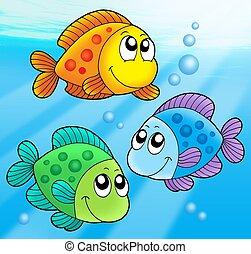 fische, reizend, drei