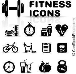 fitness, satz, schwarz, ikone