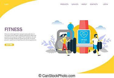 Fitness Vektor Website Landing Page Design Vorlage
