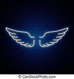 flügeln, engelchen, neon, zeichen.