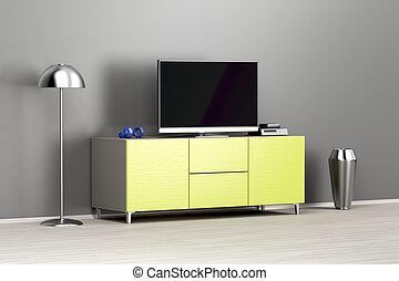 Flachbildfernseher im Wohnzimmer.