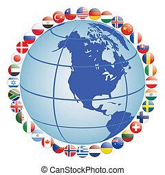 Flaggen-Ikonen rund um den Globus