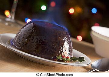 flambe, pudding, weihnachten, weinbrandt