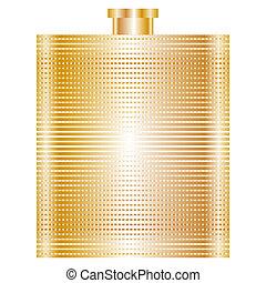 flasche, vektor, abbildung, gold