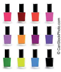 Flaschen Nagellack in verschiedenen Farben. Vektor bereit